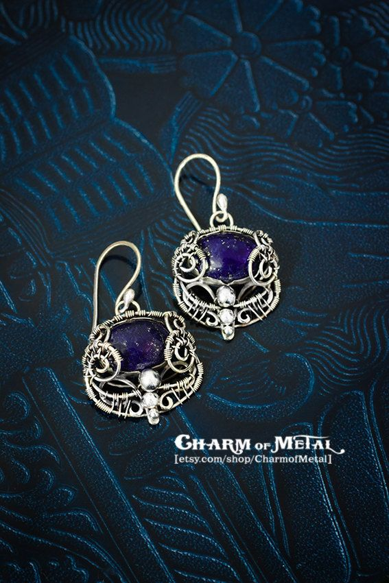 Nightfort Silver Earrings blue oval lapis lazuli with by CharmofMetal