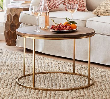 Delaney Round Coffee Table French Gray Small Space