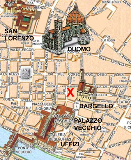 The prologue opens in Florence, Italy, with a man running past the Uffizi, the Palazzo Vecchio, and the Bargello, then turning west. I have been to that city, but even so could not figure out where he ended up. So I made this little map. An X marks the spot. As you may have noticed, a picture makes it easy.