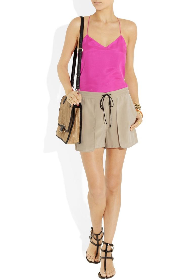 Tibi|Drawstring washed-crepe shorts