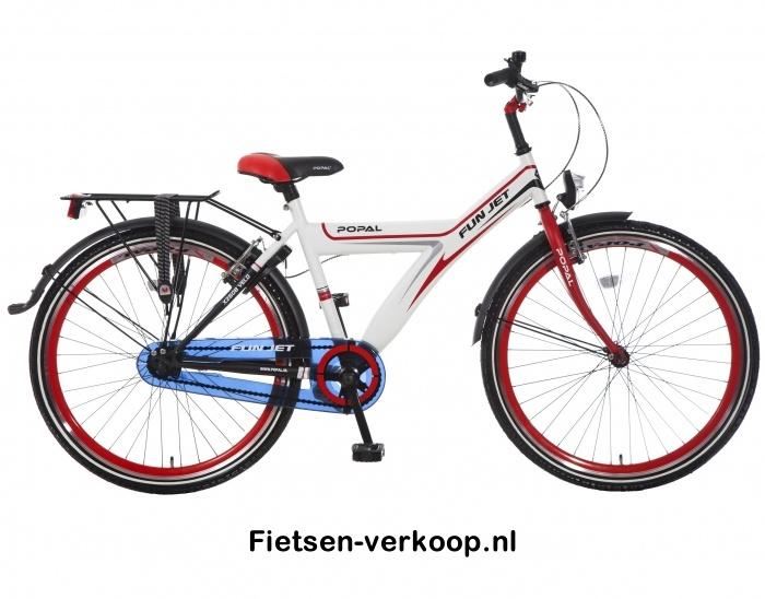Jongensfiets Fun jet Wit-Rood 26 Inch   bestel gemakkelijk online op Fietsen-verkoop.nl