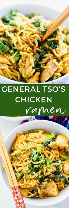 You don't have to go very far to get this classic Chinese take-out dish combined with ramen! So easy to make at home that you won't need to pick up the phone! General Tso's chicken ramen is the best combination of fast, quick dinners! #Ramen