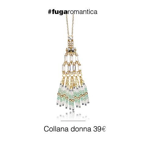 Collana in metallo, con bagno in oro giallo, cristalli bianchi e perline bianche e verde acqua Luca Barra Gioielli new collection! #lucabarra #newcollection #collana #gioiellidonna #style #fashion