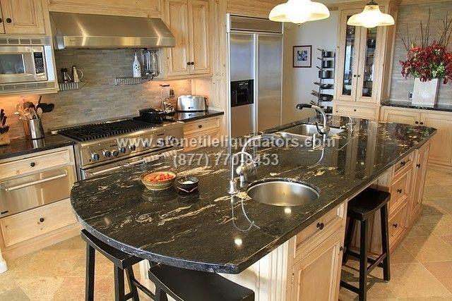 Titanium Polished Granite Kitchen Countertop