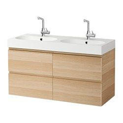 GODMORGON / BRÅVIKEN Wash-stand with 4 drawers, white stained oak effect - 120x49x68 cm - IKEA