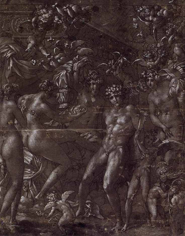 Rosso Fiorentino, Mars and Venus, pen and black ink; white wash, c. 1530, Louvre