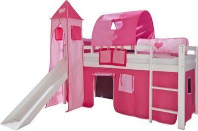 Relita Hochbett Toby Massivholz weiß, Rutsche, Turm, Stoff pink/rosa Jetzt bestellen unter: https://moebel.ladendirekt.de/kinderzimmer/betten/hochbetten/?uid=c56e3163-aaae-5086-bc3b-f1920916e258&utm_source=pinterest&utm_medium=pin&utm_campaign=boards #kinderzimmer #kleinkindmöbel #hochbetten #betten