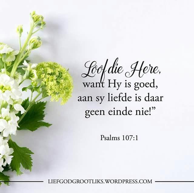 """PSALMS 107:1 Loof die Here, want Hy is goed, aan sy liefde is daar geen einde nie!""""   Ons moet altyd dankbaar wees. Waarvoor is jy vandag dankbaar #liedgodgrootliks"""