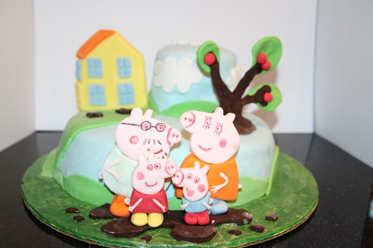 Peppa pig cake I made for my 2 year old daughter's coffee group party