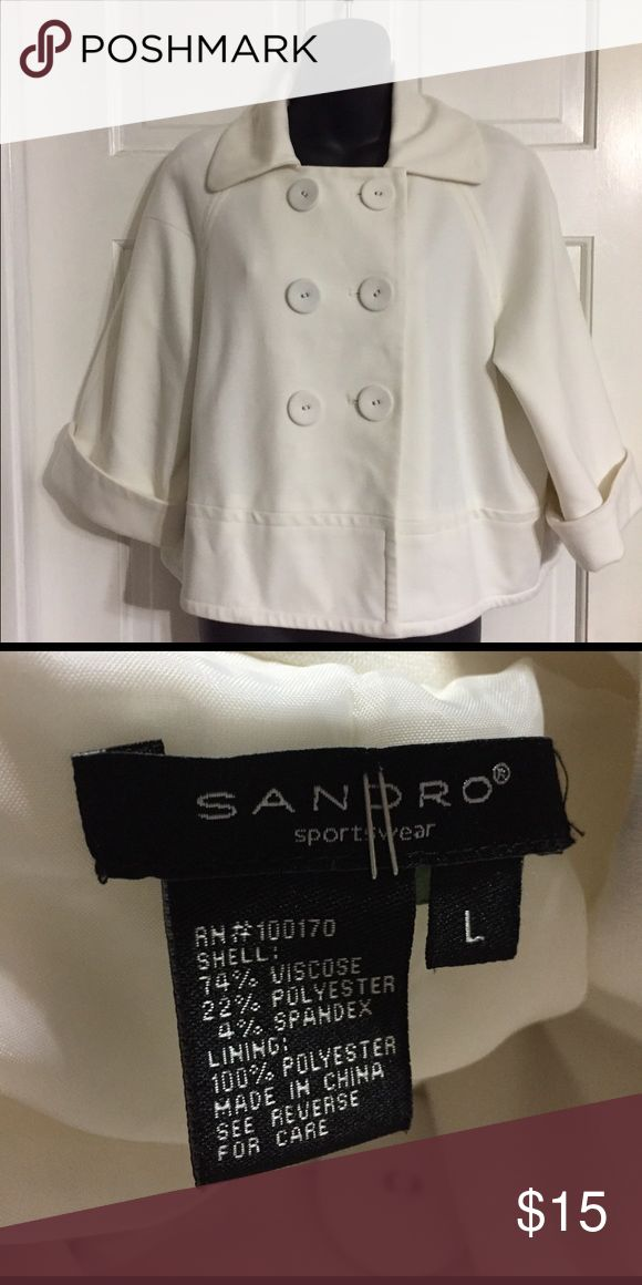 """Sandro short cream jacket coat in sz L Pretty jacket in a cream color in size L. Wide lapel with big buttons, 3/4?"""" Sleeves. Sandro Jackets & Coats"""