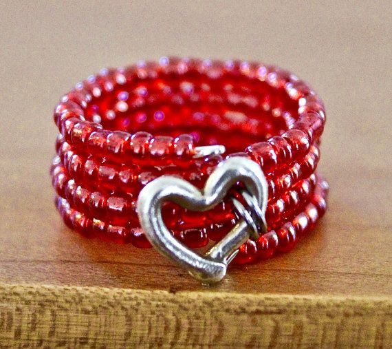 Pure Silver Heart pink seed glass bead memory wire ring - adjustable - one size fits most