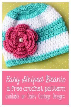 Easy Striped Toddler Beanie Free Crochet Pattern  |  via Crochetrendy