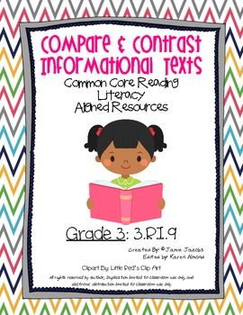 "Here are two handouts to reinforce the common core standard of ""Comparing Informational Text - 3.RI.9"". These resources can be used for practically anything (guided instruction, literacy centers, seat work, homework, assessments). If you enjoy this resource check out some of my other common core units."