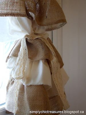 burlap & muslin ruffled curtains. Gotta make these! Would be so cute in a kitchen window