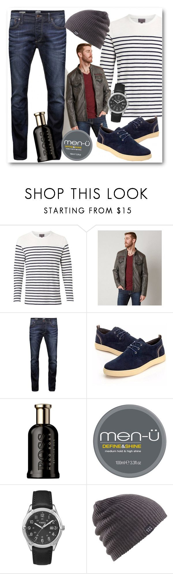 """Menswear"" by fashion-film-fun ❤ liked on Polyvore featuring Witchery, Buckle Black, Jack & Jones, HUGO, Timex, Burton, men's fashion and menswear"