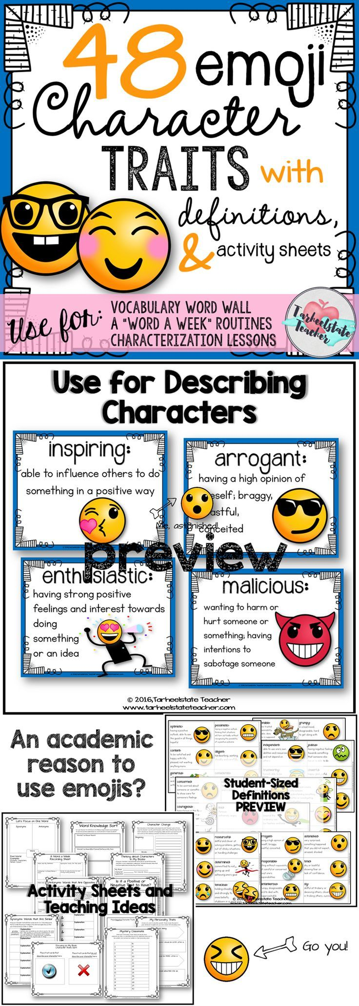 Ever asked your students to describe a character? Good, bad, nice, mean? Yes, I've had that lesson fail and I figured out what to do about it. Provide your students with a set of EMOJI STYLE character traits and definitions that will have them increasing the level of their vocabulary in no time! 48 character traits, activity sheets, lesson ideas, great for poster, bulletin board, word of week, and more!