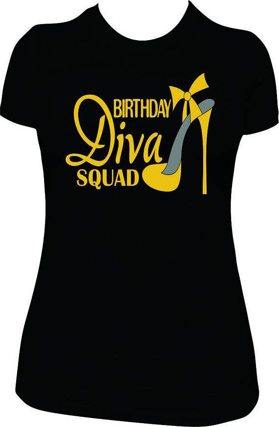 Birthday Diva Squad Shirt Glitter Women Adult