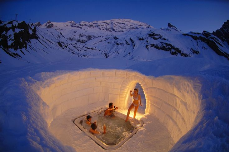 Hot tub inside igloo, Zermatt, CH