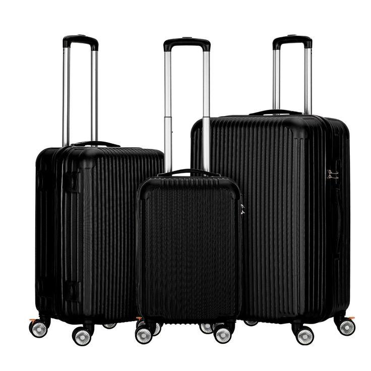 InnerTeck 3 Piece Luggage Set Spinner Hardshell Lightweight Suitcase Set - Black
