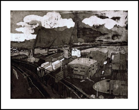 Falmouth Docks Limited Edition Etching - Falmouth - Cornwall - Docks - Cranes…