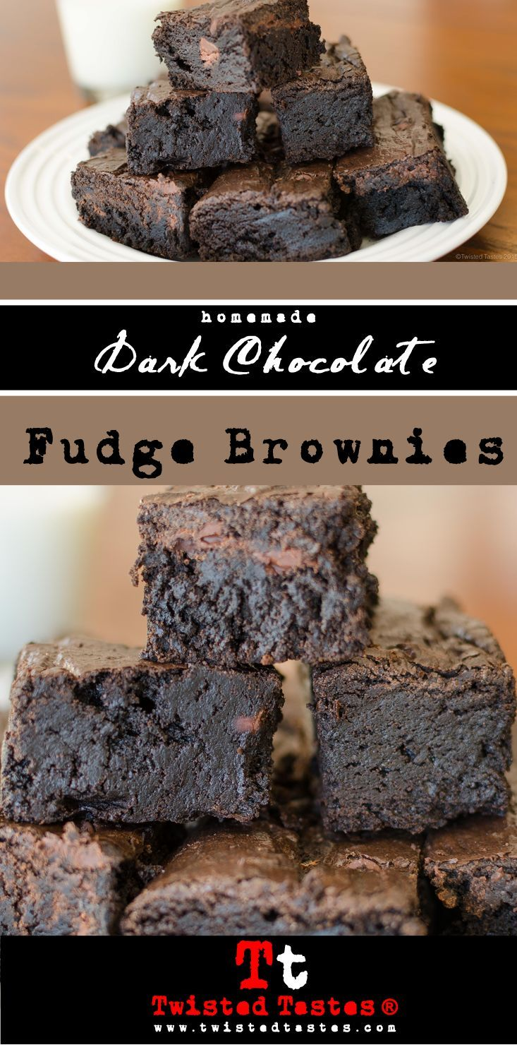 If you're looking for a fudge brownie recipe, you have to give this one a shot. They are made with Special Dark Hershey's cocoa powder and semi-sweet chocolate chips. For dark chocolate overdose: try adding a dark chocolate frosting topping (grab a napkin to wipe the drool).                                                                                                                                                                                 More