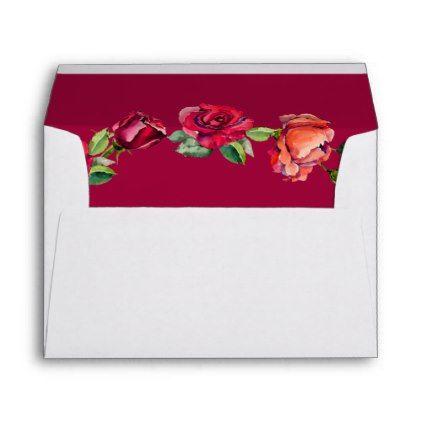 Pretty Garden Roses Monogram Envelope - monogram gifts unique design style monogrammed diy cyo customize
