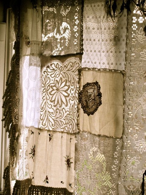 antique lace and sheer remnants quilted