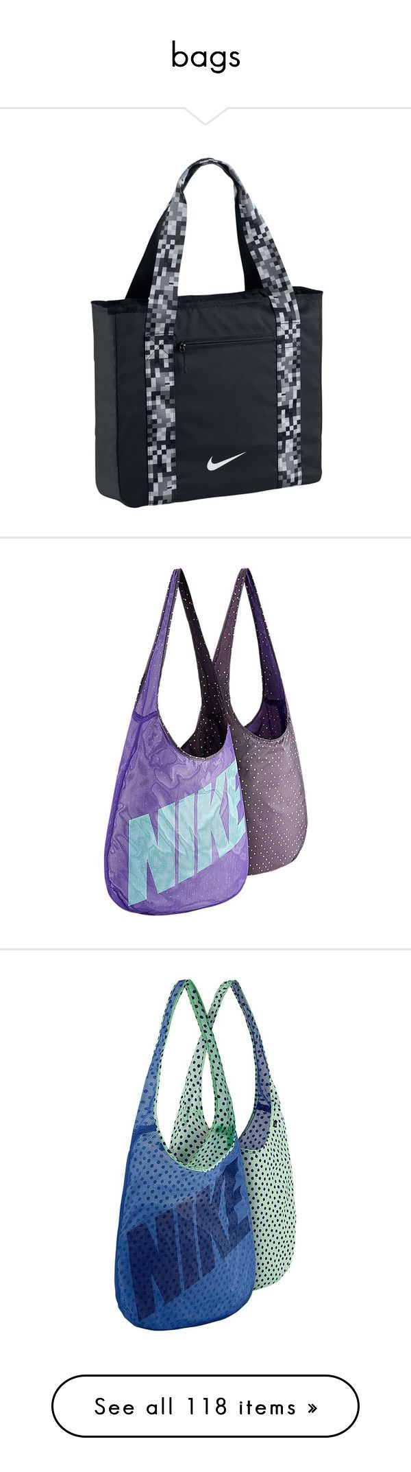 """bags"" by welcometoweirdschool on Polyvore featuring bags, handbags, tote bags, nike tote, nike handbags, embellished handbags, nike, nike tote bag, shoulder bags and purple"