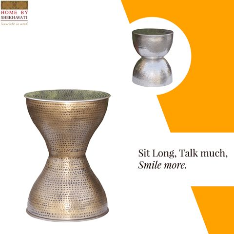 Conversation with loved one is always enjoyable. It helps in nurturing a relation. And what better way to have a conversation than to sit together for that chit chat. For this purpose, Home By Shekhavati provides you with beautiful hammered stool that makes your conversation all the more memorable. This stool is easy to move and can be kept anywhere in the house easily making it a great choice. To buy, visit http://bit.ly/Stool_HBS