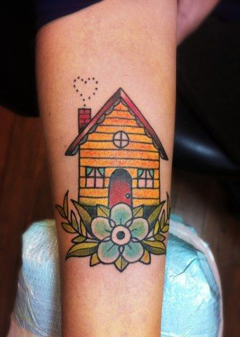 Black And Blue Tattoo, San Francisco...such a cute traditional tattoo.