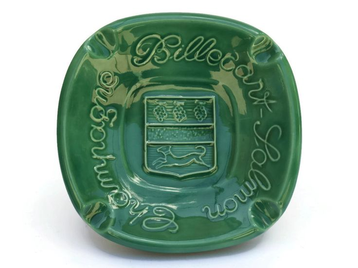 Cigar Ashtray with Advertising for French Champagne Billecourt Salmon. Green Majolica Ashtray. French Bistro Decor.