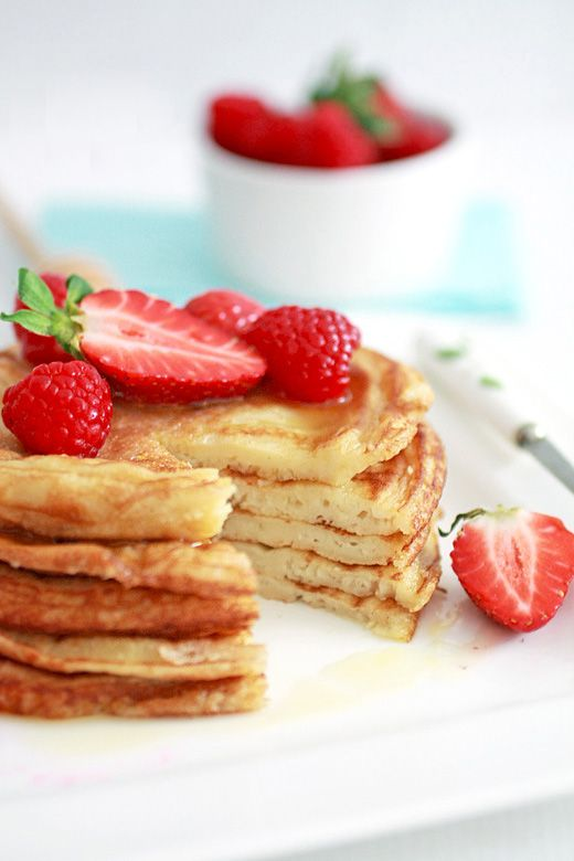 Strawberry and raspberry topped pancakes made from Nigella Lawson's recipe