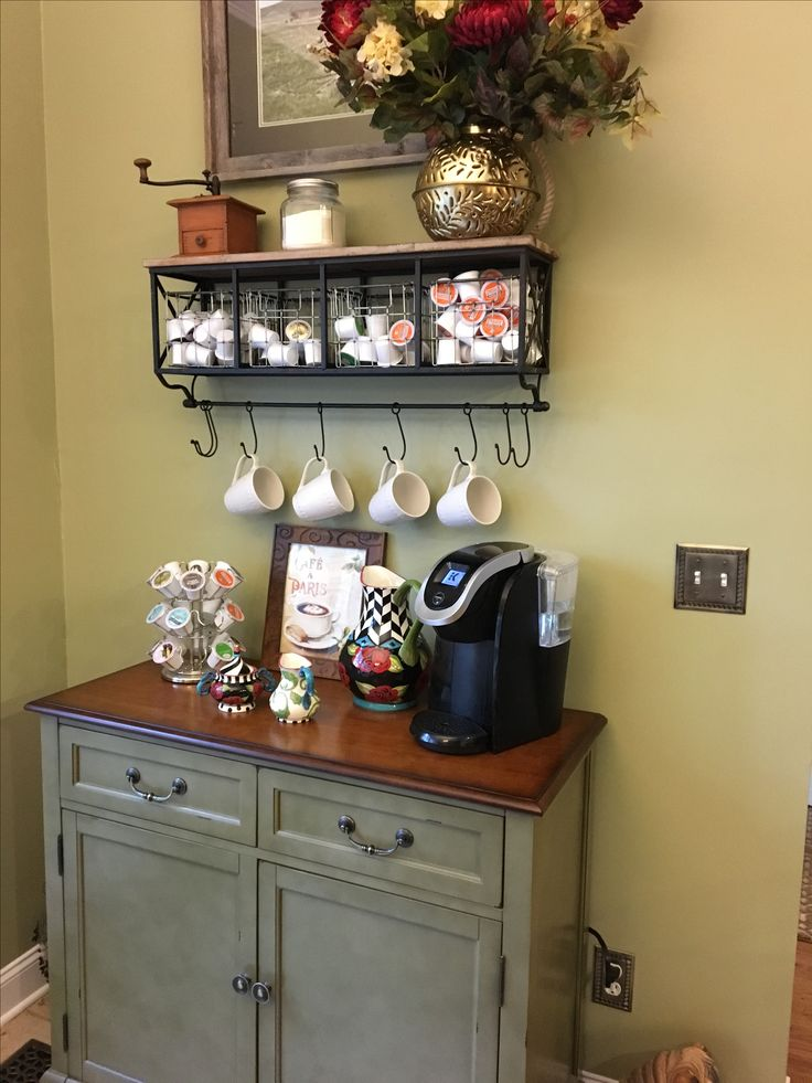Coffee bar. Shelf from Hobby Lobby. Cabinet from Pier One.