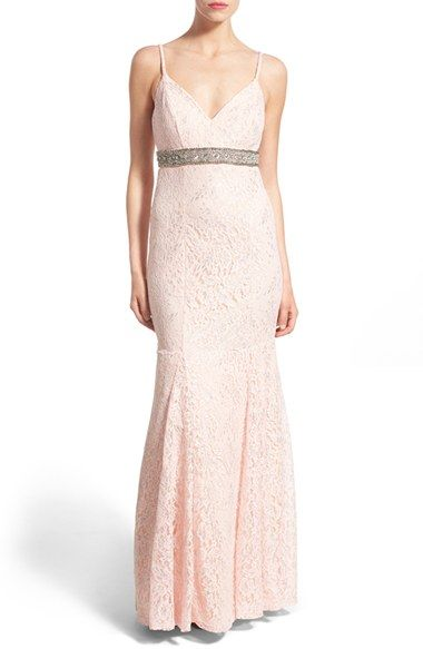 Sequin Hearts 'Mercedes' Metallic Lace Mermaid Gown available at #Nordstrom