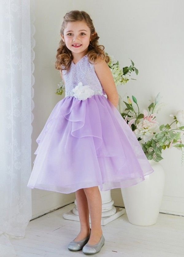 Lilac Lace Bodice with Layered Girl Dress