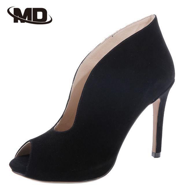 2016 Mulheres Bombas Peep Toe Calçados Mulher Salto Fino sapatos de Salto Alto Moda Feminina Sapatos de Couro Genuíno Zapatos Mujer Plus Size