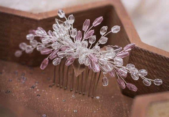 Bridal pink hair comb, Blush hair piece, Wedding headpiece, Rose hair clip, Bride crystal hairpiece, Hairstyle accessory, Delicate jewelry