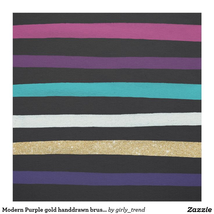 Modern Purple gold handdrawn brushstroke stripes Fabric