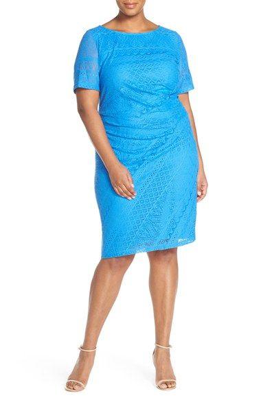 London Times Lace Side Drape Sheath Dress (Plus Size)