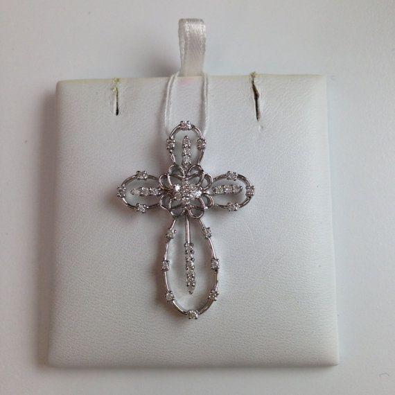14k White Gold Design Cross with 38 Small White Diamonds $360