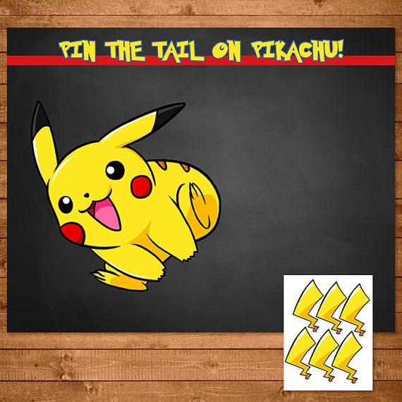 == Pokemon PRINTABLE Pin the Tail on Pikachu Game == Click Add to Cart now to add this fabulously fun Pokemon Pin the Tail on Pikachu to your party! Please note that this is a Printable/Digital Product and that no physical items with be shipped to you. This item is an instant download, so that means no waiting to get your files! As soon as you purchase, youll get a link from Etsy that will allow you to download the item. This poster comes in 4 sizes and all are pro...