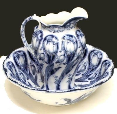 Antique Maddock Sons Royal Vitreous Flow Blue Art Nouveau Wash Basin Pitcher | eBay