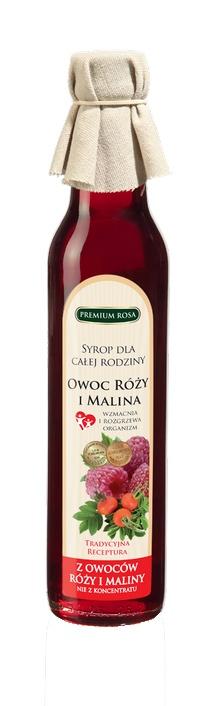 Syrop różano-malinowy. Rose syrup. To optymalne połączenie zalet owoców róży oraz malin. Dzięki zharmonizowanej mieszance jest niezwykle aromatyczny i pyszny. Bogaty w witaminę C. W kuchni niezastąpiony składnik napojów orzeźwiających, dodatek do herbat i deserów. Ten produkt można z powodzeniem stosować także w ziołolecznictwie: działa lekko napotnie i rozgrzewająco. Należy stosować przy przeziębieniach jako dodatek do napojów, gdyż uzupełnienia niedobory witaminy C. #Rose #Raspberry