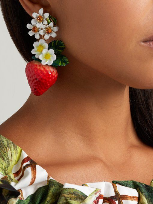 bb371aceeaf7 DOLCE   GABBANA Strawberry crystal-embellished drop earrings ...