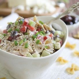Greek Pasta Salad. A lightened up and veggie packed version of the classic.