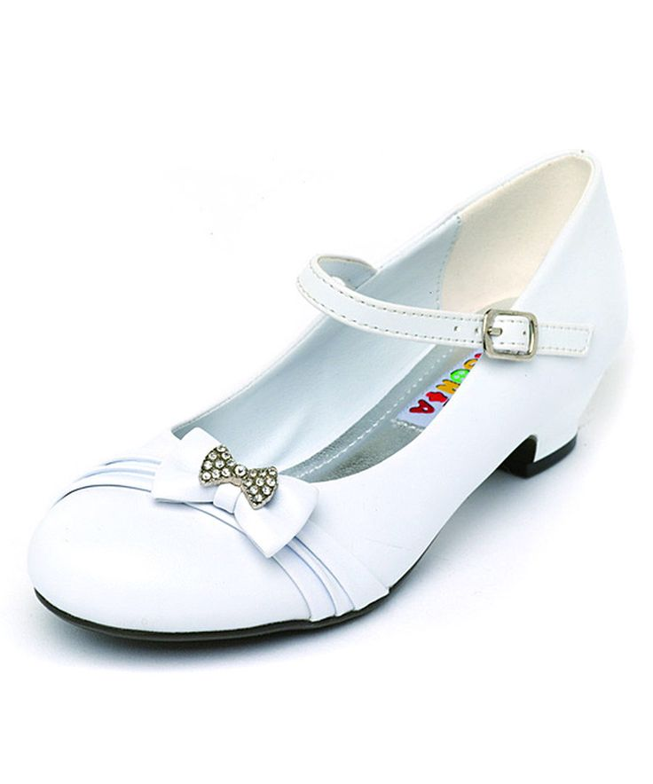 Look at this Lasonia White Sparkle Bow Mary Jane on #zulily today!