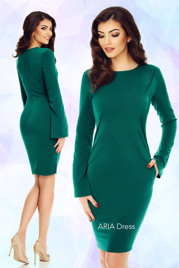 Easy to accessorize for office days or for a night out, the Aria dress has the perfect emerald green shade that flatters any skin type diagonal pleats that emphasize your waist.