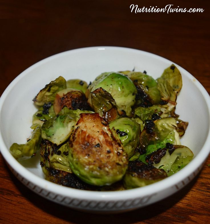 Balsamic Brussels Sprouts | Only 73 Calories | Caramelized, Crunchy, Sweet & Savory | Tastes like candy but packed with nutrients! |For MORE RECIPES, fitness & nutrition tips please SIGN UP for our FREE NEWSLETTER www.NutritionTwins.com