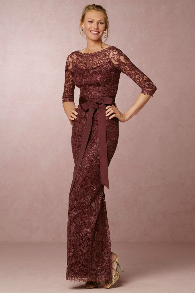Long Sleeve Burgundy Gown Darby Dress From Bhldn