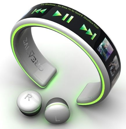 MP3 Player Concept - bracelet and wireless ear buds  very cool!  So, do these exist for the general population? #ageoftechnology